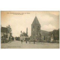 carte postale ancienne 72 COURGAINS. Place de l'Eglise Route de Mamers 1928 avec Garage