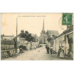 carte postale ancienne 72 CROSMIERES. Route de la Gare. Affiche Dubonnet et Combier