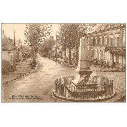 carte postale ancienne 72 ECOMMOY. Monument et Route du Mans
