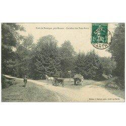 carte postale ancienne 72 FORÊT DE PERSEIGNE. Carrefour des Trois-Ponts 1909