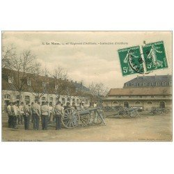 carte postale ancienne 72 LE MANS. 26° Régiment Artillerie. Instruction des canons 1908