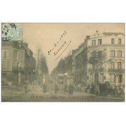 carte postale ancienne 72 LE MANS. Avenue Thiers Hôtel de l'Embarcadère et Fiacre 1905