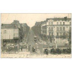 carte postale ancienne 72 LE MANS. Avenue Thiers Hôtel de Paris et Restaurant le Bouquet 1903
