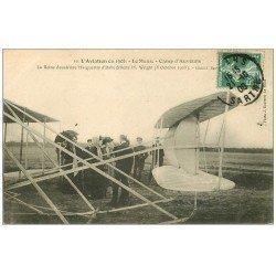 72 LE MANS. Aviation 1908 Camp d'Auvours. Reine Marguerite d'Italie et Aviateur Wright. Aéroplane et Pilote Avions