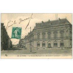 carte postale ancienne 72 LE MANS. Caisse d'Epargne Boulevard Levasseur 1909