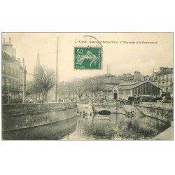 carte postale ancienne 14 CAEN. Abreuvoir et Poissonnerie Boulevard Saint-Pierre 1911