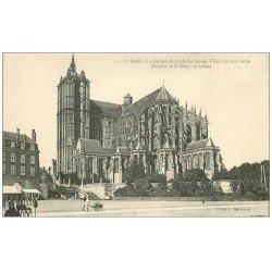 carte postale ancienne 72 LE MANS. Cathédrale Saint-Julien et Café Buvette. Affiche Chocolat Louit