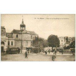 carte postale ancienne 72 LE MANS. Cinéma Pathé Place de la République 1930