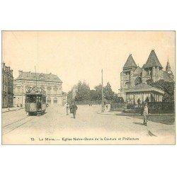 """carte postale ancienne 72 LE MANS. Eglise et Préfecture Tramwa """""""" PICON """""""""""