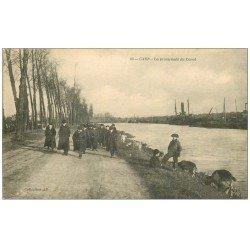 carte postale ancienne 14 CAEN. Ecoliers sur la Promenade du Canal