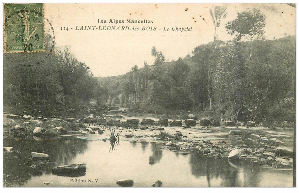 carte postale ancienne 72 SAINT-LEONARD-DES-BOIS. Chapelet 1920
