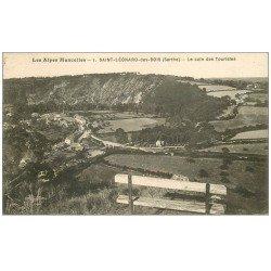 carte postale ancienne 72 SAINT-LEONARD-DES-BOIS. Coin des Touristes 1937