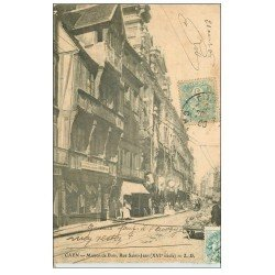 carte postale ancienne 14 CAEN. Magasin de Cartes Postales rue Saint-Jean 1906