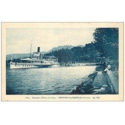 carte postale ancienne 74 AMPHION-LES-BAINS. Bateau à roue FRANCE au Port