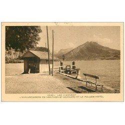 carte postale ancienne 74 ANNECY. Embarcadère de Menthons-Saint-Bernard et Palace Hôtel 1948