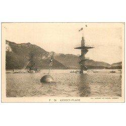 carte postale ancienne 74 ANNECY. La Plage avec toboggan et plongeoir