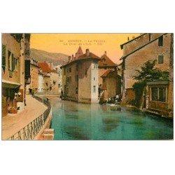 carte postale ancienne 74 ANNECY. Le Thiou Quai de l'Île 1931