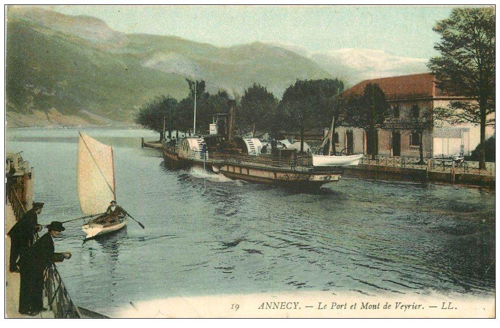 carte postale ancienne 74 ANNECY. Port et Mont Veyrier