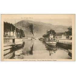 carte postale ancienne 74 ANNECY. Port Flotte Bateaux à Vapeur 1927