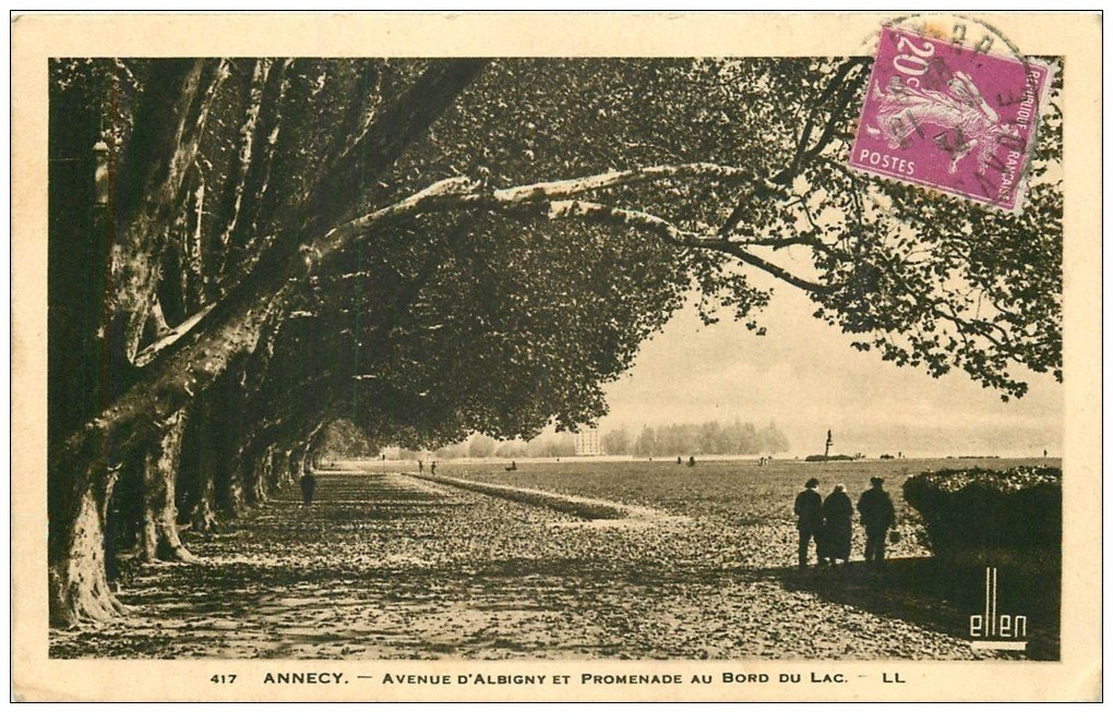 carte postale ancienne 74 ANNECY. Promenade Avenue d'Albigny 1934