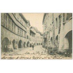 carte postale ancienne 74 ANNECY. Rue Saint-Claire. Timbre 10 Centimes 1902