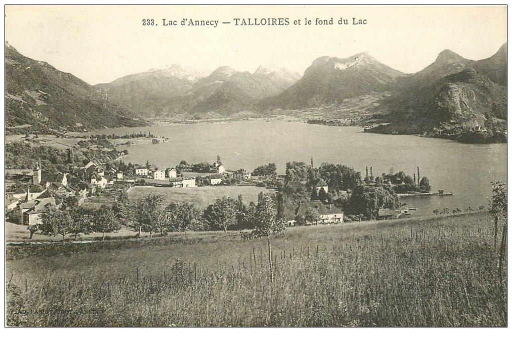 carte postale ancienne 74 ANNECY. Talloires et Lac 1915