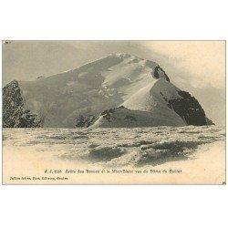 carte postale ancienne 74 ÂRETE DES BOSSES ET MONT BLANC vus du Dôme du Goûter