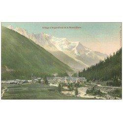 carte postale ancienne 74 ARGENTIERE. Village et Mont Blanc