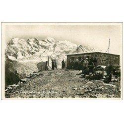 carte postale ancienne 74 BREVENT. Refuge au Sommet et le Mont Blanc. Carte Photo 1936