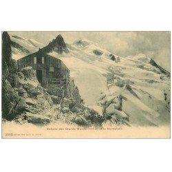 carte postale ancienne 74 CABANE DES GRANDS MULETS. Et le Mont Blanc animation vers 1900