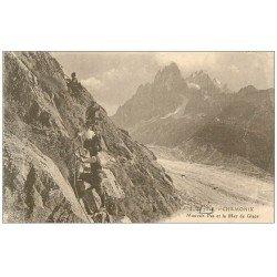 carte postale ancienne 74 CHAMONIX. Mauvais Pas Mer de Glace. Alpinisme et Ascension
