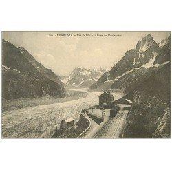 carte postale ancienne 74 CHAMONIX. Mer de Glace Gare du Montenvers 1921. Train à crémaillière