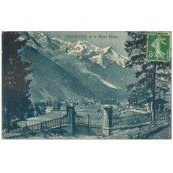 carte postale ancienne 74 CHAMONIX. Mont Blanc et Publicité Chocolat Suchard 1913