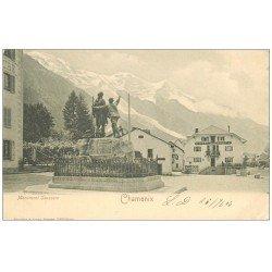 carte postale ancienne 74 CHAMONIX. Monument Saussure Hôtel de la Poste. Timbre 1 Centime 1903 et Tampn Grand Hôtel