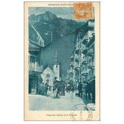 carte postale ancienne 74 CHAMONIX. Place de l'Eglise et Brévent