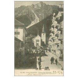carte postale ancienne 74 CHAMONIX. Place et sortie de l'Eglise 1903