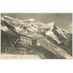carte postale ancienne 74 CHAMONIX. Plan de l'Aiguille et Mont-Blanc 1923