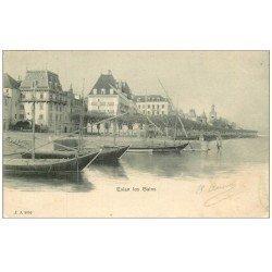 carte postale ancienne 74 EVIAN-LES-BAINS. Bateaux de Pêche dans le Port 1903