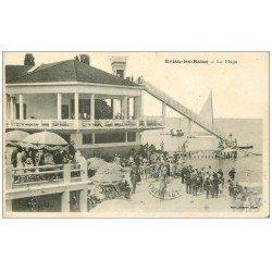 carte postale ancienne 74 EVIAN-LES-BAINS. La Plage avec Toboggan Géant 1932
