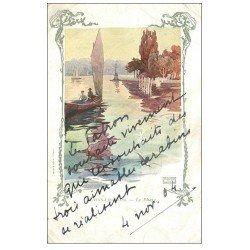 carte postale ancienne 74 EVIAN-LES-BAINS. Le Phare 1904. Collection Cachat