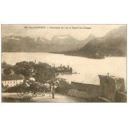 carte postale ancienne 74 LAC ANNECY. Attelage et Massif des Bauges