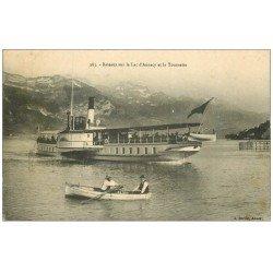 carte postale ancienne 74 LAC ANNECY. Bateau à Roue et Tournette 1908