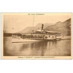 carte postale ancienne 74 LAC ANNECY. Bateau France au Port