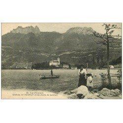 carte postale ancienne 74 LAC ANNECY. Château Duingt et Dent Lanfont animation 1919