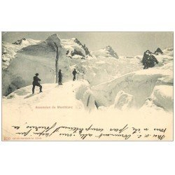 carte postale ancienne 74 LE MONT BLANC. Ascension par Alpinistes. Timbre Suisse 5 Centimes 1902