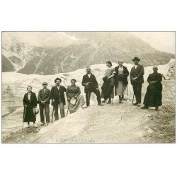 carte postale ancienne 74 LES BOSSONS. Alpinistes Excursions. Rare Carte Photo Famille Barrioz. Saint-Gervais-les-Bains