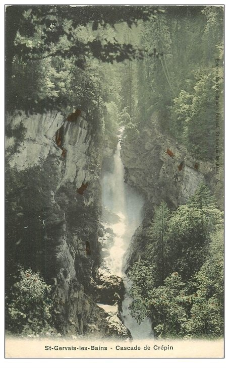 carte postale ancienne 74 SAINT-GERVAIS-LES-BAINS. Cascade de Crépin. Semi-Aquarelle Ed. Breger