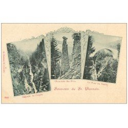 carte postale ancienne 74 SAINT-GERVAIS-LES-BAINS. Cascade, Cheminée et Pont vers 1900. Edition Perroud