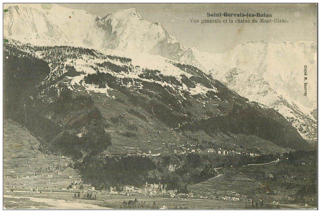 carte postale ancienne 74 SAINT-GERVAIS-LES-BAINS. Chaîne du Mont Blanc