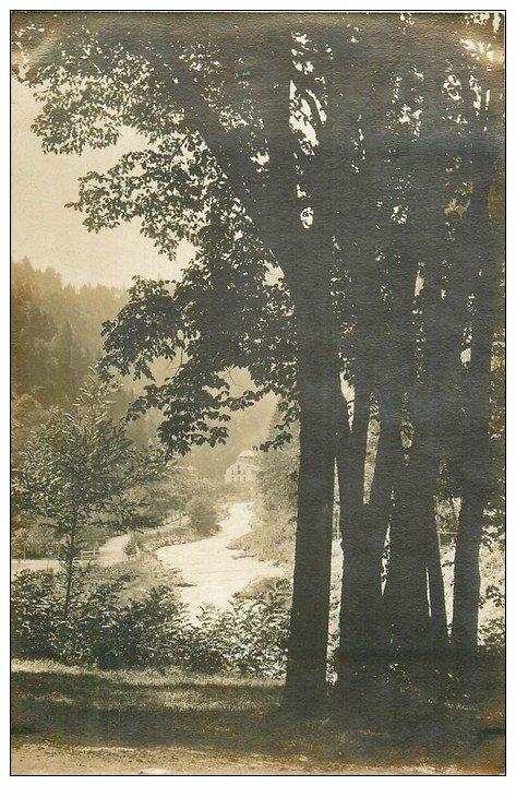 carte postale ancienne 74 SAINT-GERVAIS-LES-BAINS. Etablissement vu d'un sous-bois. Carte Photo sans légende